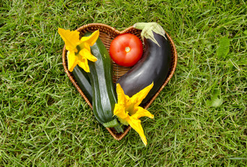 heart form wicker basket with vegetable