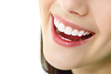 Fototapety perfect smile with healthy tooth of cheerful teen girl isolated