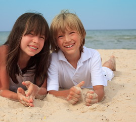 Siblings at the beach