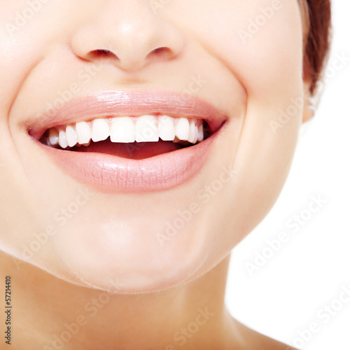 Beautiful wide smile of young fresh woman with great healthy whi