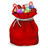 Santa Claus bag with candy and ball colors