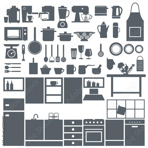 Kitchen elements silhouette icons set