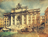 Fountain di Trevi. Picture in artistic retro style.