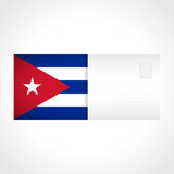 Envelope with Cuban flag card