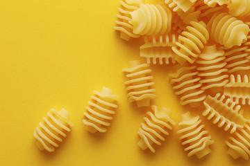 Raw radiatori pasta texture
