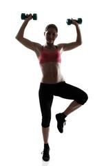 sporty girl with dumbbells full length portrait, silhouette stud
