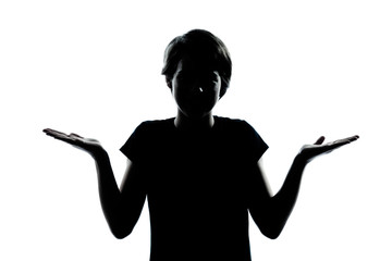 one young teenager boy or girl silhouette ignorant hesitation sh