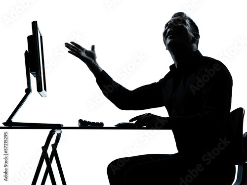 one business man silhouette computer computing happy