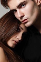 Sexy young couple, faces closeup