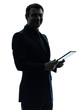business man  digital tablet  posing portrait silhouette