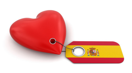 Heart with Spanish flag (clipping path included)