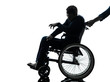 handicapped disabled man in wheelchair silhouette
