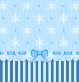 Vintage winter card with bow on blue snowflake background.