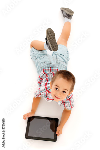 Kid using tablet PC