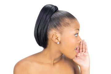 Side view of black woman whispering