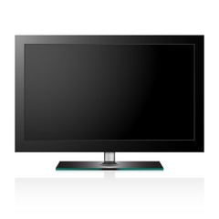 Vector illustration of TV flat black screen lcd
