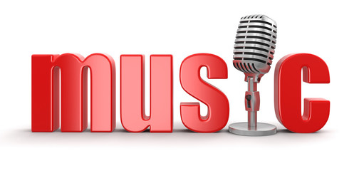 Music with Microphone (clipping path included)