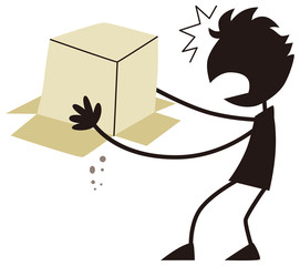 空っぽの箱に驚く男性