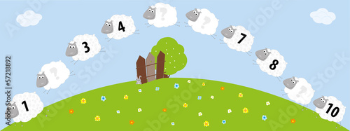 Sheeps with numbers 1-10 for kids