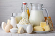 Leinwandbild Motiv Dairy products, milk, cottage cheese, eggs, yogurt