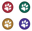 Coloured Paw Buttons