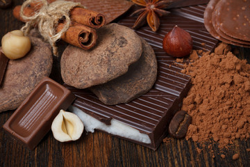 Chocolate assorment with cocoa powder, nuts, coffee and spices
