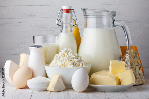 Fotobehang Zuivelproducten Dairy products, milk, cottage cheese, eggs, yogurt