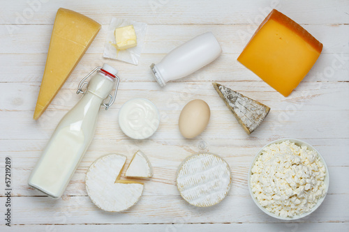 Dairy products assortment on wooden table