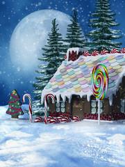 Zimowy krajobraz z cukierkowym domkiem