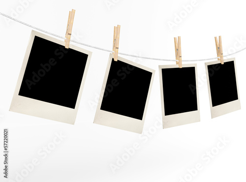 Blank photos on a rope weighing
