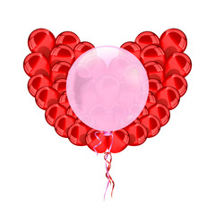 heart  red balloons.