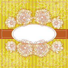 Vector Vintage Floral Frame With Blooming Marigold..