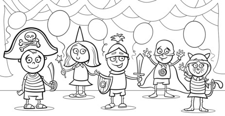 children at fancy ball coloring page