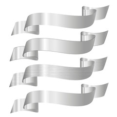 set of silver vector ribbons for your text