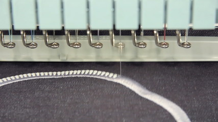 Computerized machine embroidery working on jeans