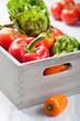 various fresh vegetable in box