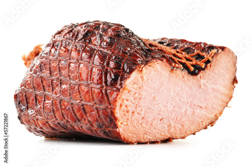 Piece of ham isolated on white background