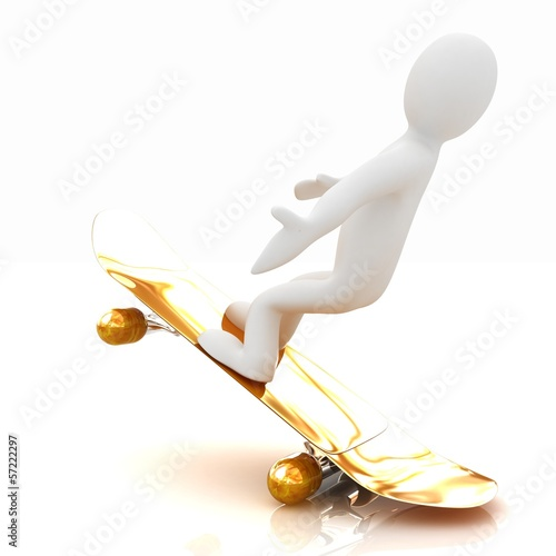 3d white person with a skate and a cap