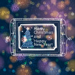 blue brightness background with label with text and christmas tr