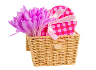 basket with meadow saffron and gift box