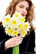 teen girl with daffodils