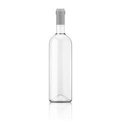 Transparent wine bottle.
