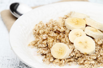 Oatmeal and Freshly Cut Bananas