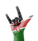 Hand making I love you sign, Kenya flag painted