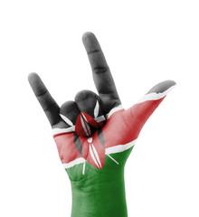 Hand making I love you sign, Kenya flag painted