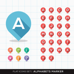Set of A-Z Alphabet Pin Marker Flat Icons with long shadow for G