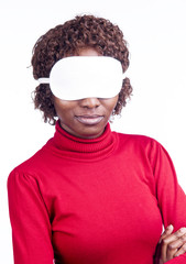 African girl blindfolded