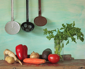 Vegetables, and vintage kitchen utensils, free copy space