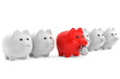Piggy bank in row with one red secured with combination lock