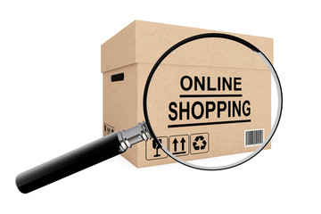 Online shopping search concept. Cardboard box for shipping with